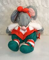 Vintage Department Dept 56 Nylon Gray Puff Christmas Mouse Holiday Plush 16""