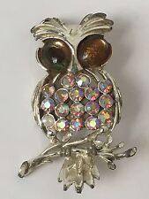 Vintage Aurora Borealis Owl Brooch Pin Rhinestones Silver Tone Possibly Coro