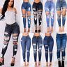 UK New Womens Ladies Celeb Stretch Ripped Skinny High Waist Denim Pants Jeans