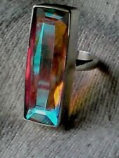 HANDCRAFTED STERLING SILVER UNIQUE 40mm.RING with a MYSTIC OPAL UK R £49.95 NWT