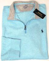 NEW $89 Polo Ralph Lauren Long Sleeve Blue 1/4 Zip Pullover Sweater Mens NWT