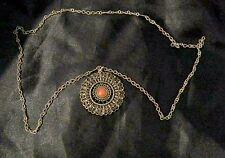 Sautoir, GRAND pendentif en ARGENT corail ethnique, tibet, mandala, collier asie