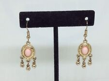 Tone French Wire Earrings Pink Shade Cabochan Delicate Gold