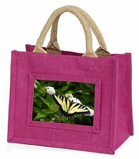 Pretty Black and Yellow Butterfly Little Girls Small Pink Shopping Bag, IBU-1BMP