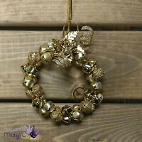Gisela Graham Festive Gold Metal Wreath Christmas Hanging Jingle Bell Decoration