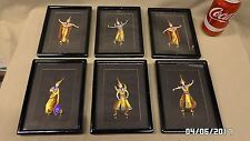 1962M Vtg 1940's 6 Wood Framed Prints Oriental Ladies Dancing 5x7 JAPAN