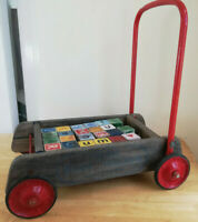 Vintage Wooden Triang Baby Walker with 23 original wooden blocks