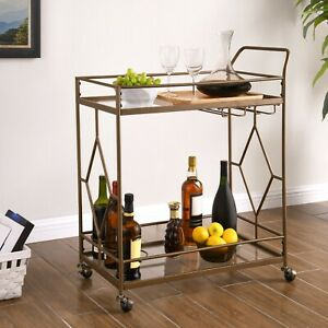 Rolling Mini Bar Bronze Tone Large Glass Shelves 2 Tier Liqueur Serving Cart NEW