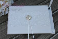 Beautiful Ivory Wedding Guest Book, Ivory Lace Bridal Guest Book with Brooch