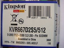 Kingston 512MB KVR667D2S5/512 200PIN SODIMM DDR2 PC2-5300 Ram/Memory  24001 *-