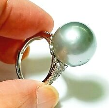 Genuine Huge Peacock Gray 14mm Tahitian South Sea Round Pearl Ring Size 5-6