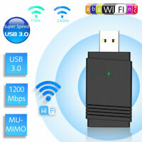 1200Mbps USB3.0 Wireless WiFi Adapter Dongle Dual Band 5G/2.4G Desktop Laptop PC
