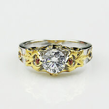 Zelda Theme Round Cut 1CT Simulated Diamond Triforce Two Tone Engagement Ring