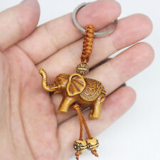 Lucky Elephant Carving Wooden Pendant Keychain Key Chain Ring Evil Defends