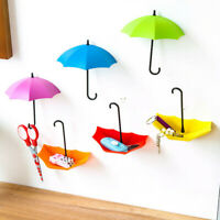 3pcs Cute Umbrella Wall Mount Key Holder Wall Hook Hanger Organizer Durable