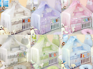 Luxury 3-5-7-8-9 pieces  Embroidered Baby Canopy Bedding Set For Cot / Cot Bed
