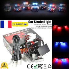 Bleu + Rouge 18 LED Stroboscope Clignotant Lumière Voiture Grill D'Urgence Lampe