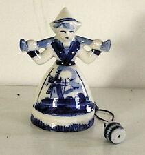 VINTAGE Blue Delft Dutch LADY WATER BUCKET Holland ceramic WINDMILL
