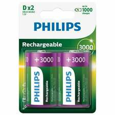Philips 2 D Type 3000mAh NiMH Rechargeable Batteries - Battery Pack of Two