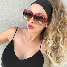 Sunglasses Red Green Oversized Square Luxury Gradient Lens Vintage Women New