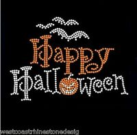 Happy Halloween #8 Rhinestone Iron on Transfer     XWHT