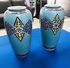 """Antique Kinkozan Japanese Vase Pair 9.5"""" Beautiful Gold Detail, Free Shipping"""
