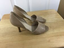 Franco Sarto Size 6 M Women's Open Toe Leather Beige Heel Shoes