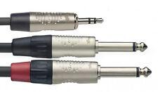 2m Profi Aux Kabel 3,5mm Miniklinke Stereo > 2x Klinke 6,35mm 6,3mm Mono Y 2 m