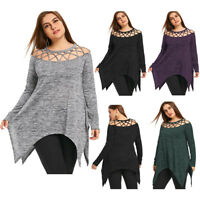 Ladies Plus Size Tee Tops Blouses Criss Cross T Shirt XL-5XL