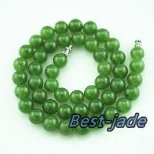 10mm Beads Certified Natural Jade Russian Nephrite gemstone necklace round NZ