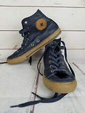 Converse All Star High Top Junior Size 3 Blue Leather With Brown Chuck Taylor