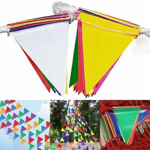 Colorful Plastic Pennant String Triangle Banner Flags Party Decor Nylon Garden