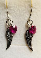 Wing Drop Earrings With A Twinkle.-) Stunning Hot Pink Glass Heart Angel
