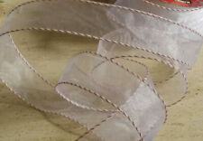 Sheer White Red Baker Twine Edging Xmas Craft Wrap38mm Wide Wire Edged Ribbon 1m