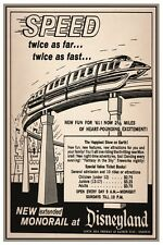 "DISNEY COLLECTORS POSTER 12"" x 18""- DISNEYLAND MONORAIL AD"