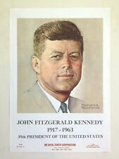 "NORMAN ROCKWELL JFK RARE 1963 "" JOHN F. KENNEDY "" ICONIC LITHOGRAPH PRINT POSTER"