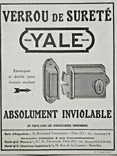 PUBLICITÉ DE PRESSE 1923 VERROU DE SURETÉ YALE ABSOLUMENT INVIOLABLE