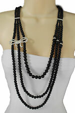 Women Silver Metal Ribbon Bow Charm Fashion Jewelry Long Necklace Black Beads