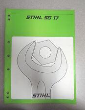 Stihl SG 17  Mistblower BG 17 Airbroom Service Repair Manual