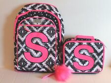 Justice Girl's Black & Pink Geo Tie Dye Initial Letter S Backpack & Lunch Box