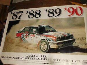 1987/90 LANCIA DELTA INTEGRALE 4X CHAMPION  POSTER CM 100X70 DIDIER AURIOL RALLY