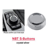 1X Crystal silver Car Multimedia Button Knob Cover For BMW NBT 5-Buttons !F