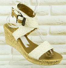 CLARKS Womens White Casual Wedge Canvas Sandals Summer Shoes Size 6 UK 39 EU