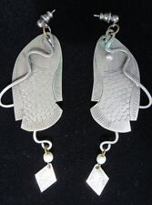 Scale Drop Earrings Pierced Ears Excellent Engraved Thin Pewter Tone Metal Fish