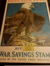 1918 Original WWI Charles Bull Savings Stamps Poster (Eagle) - Keep Him Free