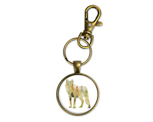 Woodland Theme Coyote Bronze Key Chain Ring Clip Mens Masculine New Fathers Day