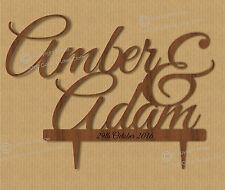 Les couples nom personnalisé, belle wedding cake topper, bois, vintage,