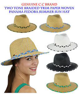 Brand NEW! C.C Two Tone Braided Trim Paper Woven Panama Fedora Summer CC Sun Hat
