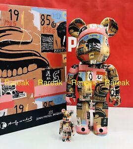 Medicom Bearbrick 2021 Andy Warhol Jean Michel Basquiat #2 400% + 100% be@rbrick