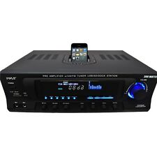 PYLE HOME STEREO AM/FM RECEIVER POWER AMPLIFIER iPOD DOCK USB/SD AUX/MIC INPUTS